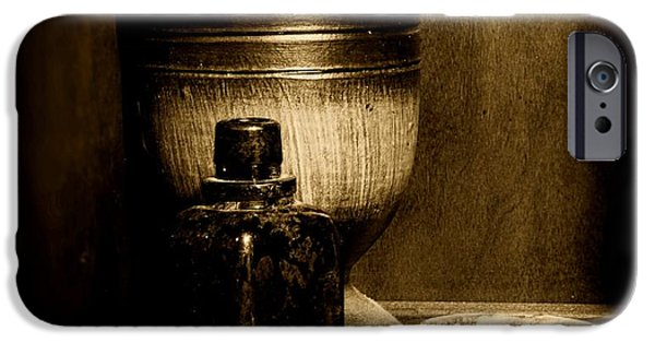 Old Grinders iPhone Cases - Pharmacy - wood mortar and pestle - black and white iPhone Case by Paul Ward