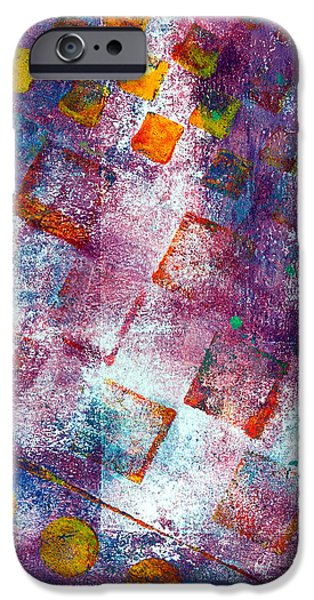 Abstract Movement Mixed Media iPhone Cases - Phase series - Picking Up the Pieces iPhone Case by Moon Stumpp