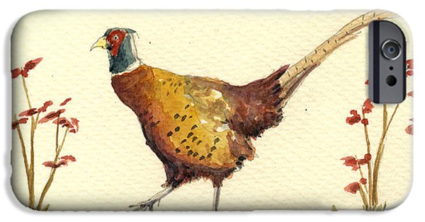 Pheasant iPhone Cases - Pheasant in the flowers iPhone Case by Juan  Bosco