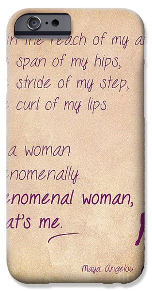 Empower iPhone Cases - Phenomenal Woman Quotes 1 iPhone Case by Nishanth Gopinathan