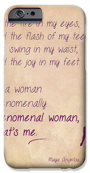 African-american Drawings iPhone Cases - Phenomenal Woman Quotes 2 iPhone Case by Nishanth Gopinathan