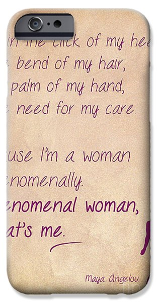 African-american Drawings iPhone Cases - Phenomenal Woman Quotes 4 iPhone Case by Nishanth Gopinathan