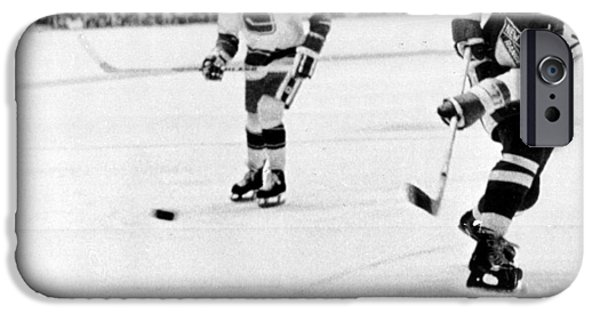 Ice-skating iPhone Cases - Phil Esposito in action iPhone Case by Gianfranco Weiss