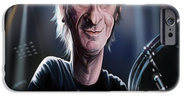 Caricature Digital Art iPhone Cases - Phil Rudd iPhone Case by Andre Koekemoer