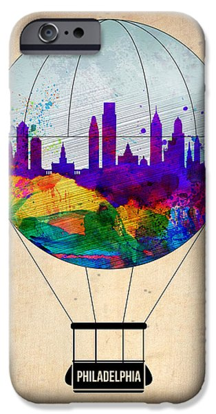 Towns Digital Art iPhone Cases - Philadelphia Air Balloon iPhone Case by Naxart Studio