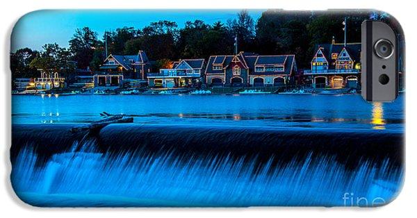 Boathouses iPhone Cases - Philadelphia Boathouse Row at Sunset iPhone Case by Gary Whitton
