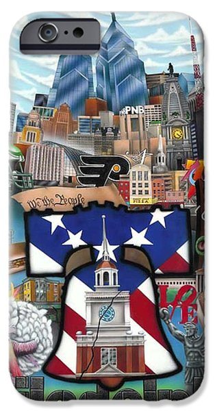 Phillies Paintings iPhone Cases - Philadelphia iPhone Case by Brett Sauce