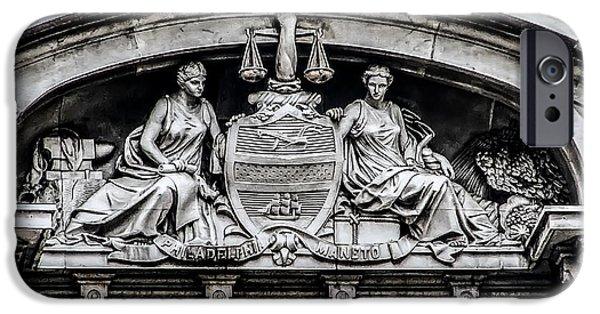 Philadelphia City Hall iPhone Cases - Philadelphia City Hall - City Seal  iPhone Case by Bill Cannon