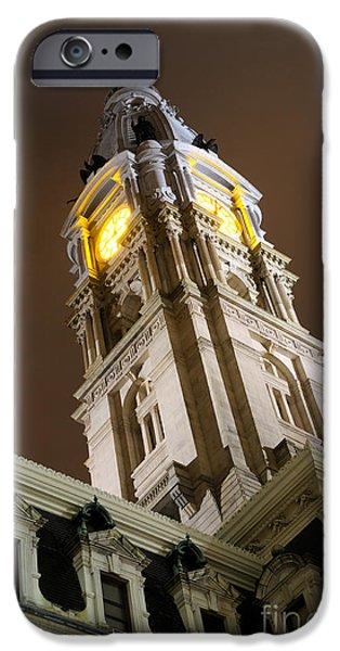 Philadelphia City Hall iPhone Cases - Philadelphia City Hall Clock Tower at Night iPhone Case by Gary Whitton