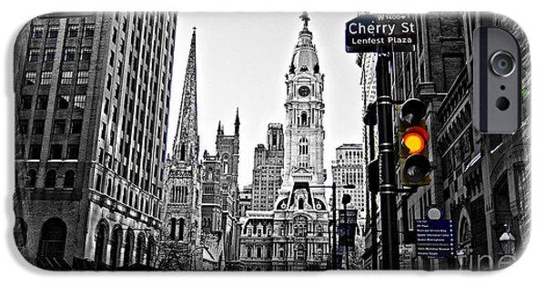 Town iPhone Cases - Philadelphia City Hall-Modern iPhone Case by Douglas Barnard