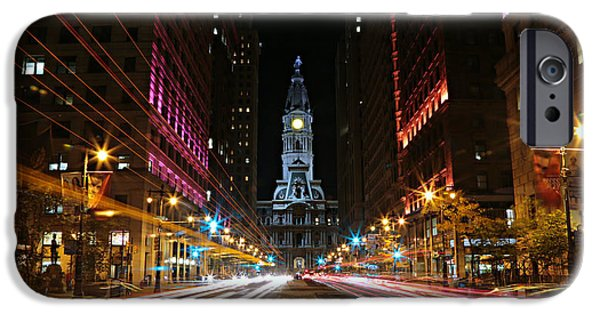 Town iPhone Cases - Philadelphia City Hall -- Night iPhone Case by Stephen Stookey