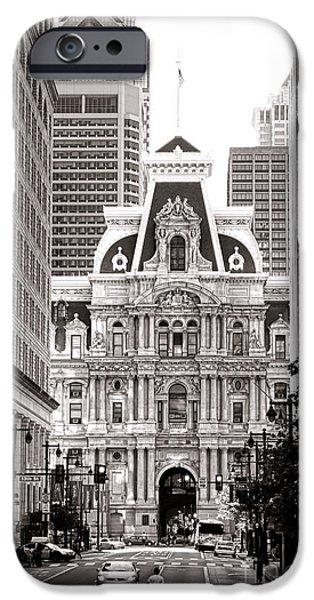 Philadelphia City Hall iPhone Cases - Philadelphia City Hall iPhone Case by Olivier Le Queinec