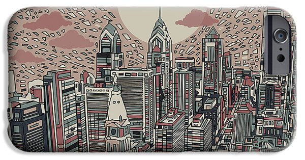 Buildings Mixed Media iPhone Cases - Philadelphia Dream 3 iPhone Case by MB Art factory