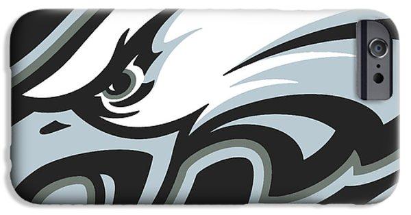 Signed Mixed Media iPhone Cases - Philadelphia Eagles Football iPhone Case by Tony Rubino