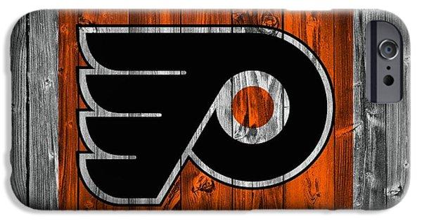 Mascots Mixed Media iPhone Cases - Philadelphia Flyers Barn Door iPhone Case by Dan Sproul