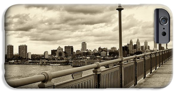 City Scape iPhone Cases - Philadelphia from Ben Franklin Bridge 2 iPhone Case by Jack Paolini
