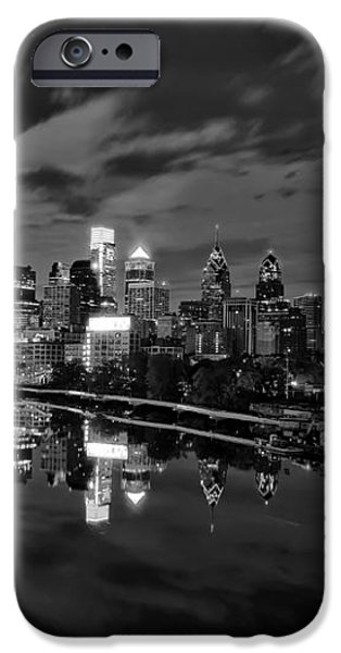 Philadelphia From South Street At Night in Black and White iPhone Case by Bill Cannon