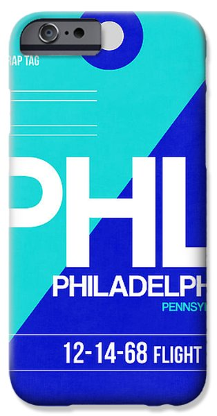 Town iPhone Cases - Philadelphia Luggage Poster 1 iPhone Case by Naxart Studio