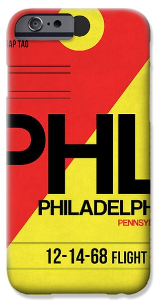 Town Mixed Media iPhone Cases - Philadelphia Luggage Poster 2 iPhone Case by Naxart Studio