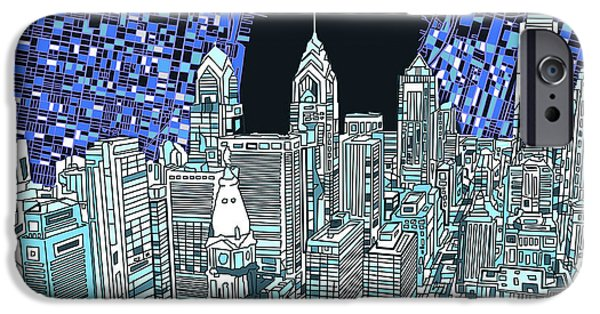Buildings Mixed Media iPhone Cases - Philadelphia Map Panorama iPhone Case by MB Art factory