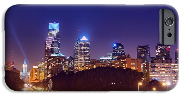 Franklin iPhone Cases - Philadelphia Nightscape iPhone Case by Olivier Le Queinec