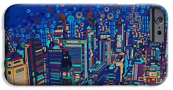 Phillies Digital iPhone Cases - Philadelphia Panorama Pop Art 2 iPhone Case by MB Art factory