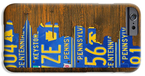 Skyscraper Mixed Media iPhone Cases - Philadelphia Pennsylvania City of Brotherly Love Skyline License Plate Art iPhone Case by Design Turnpike