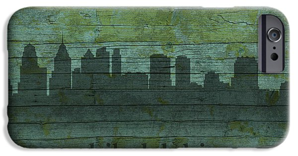 Skylines Mixed Media iPhone Cases - Philadelphia Pennsylvania Skyline Art on Distressed Wood Boards iPhone Case by Design Turnpike
