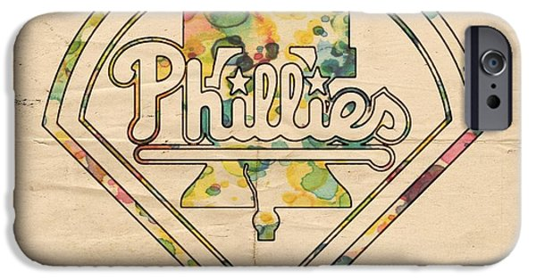 Baseball. Philadelphia Phillies iPhone Cases - Philadelphia Phillies Poster Vintage iPhone Case by Florian Rodarte