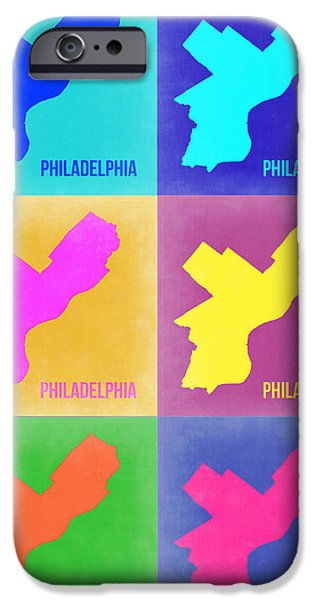 Street Mixed Media iPhone Cases - Philadelphia Pop Art Map 3 iPhone Case by Naxart Studio