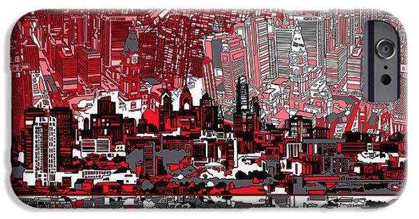 Mosaic iPhone Cases - Philadelphia Skyline Abstract 4 iPhone Case by MB Art factory