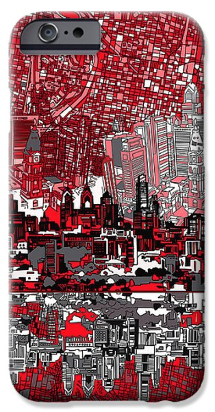 philadelphia skyline abstract 4 iPhone Case by MB Art factory