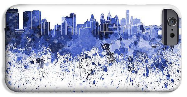 Philadelphia Paintings iPhone Cases - Philadelphia skyline in blue watercolor on white background iPhone Case by Pablo Romero