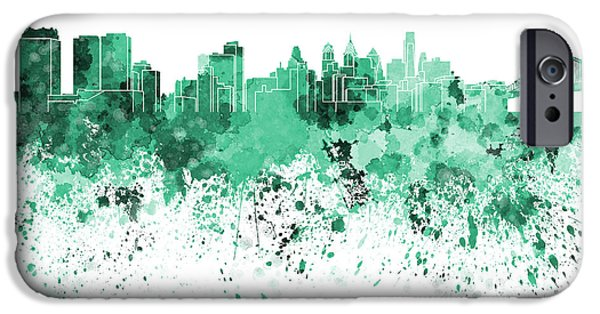 Philadelphia Paintings iPhone Cases - Philadelphia skyline in green watercolor on white background iPhone Case by Pablo Romero