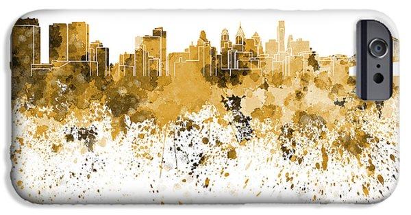 Philadelphia Paintings iPhone Cases - Philadelphia skyline in orange watercolor on white background iPhone Case by Pablo Romero