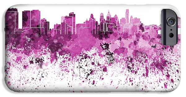 Philadelphia Paintings iPhone Cases - Philadelphia skyline in pink watercolor on white background iPhone Case by Pablo Romero