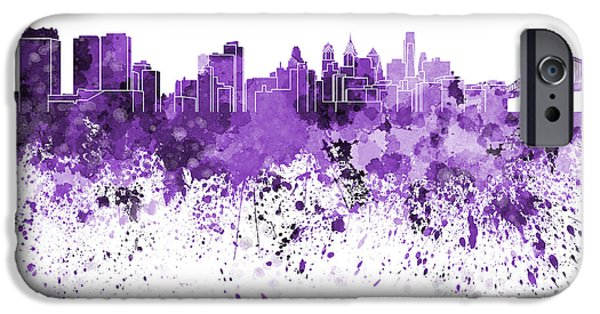 Philadelphia Paintings iPhone Cases - Philadelphia skyline in purple watercolor on white background iPhone Case by Pablo Romero