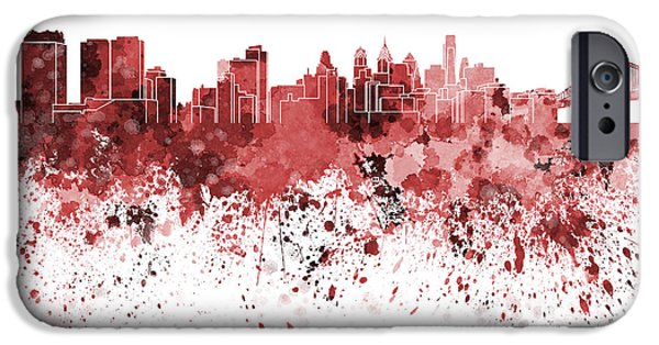 Philadelphia Paintings iPhone Cases - Philadelphia skyline in red watercolor on white background iPhone Case by Pablo Romero