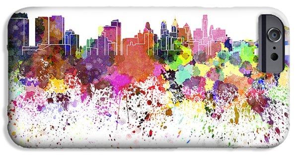 Philadelphia Paintings iPhone Cases - Philadelphia skyline in watercolor on white background iPhone Case by Pablo Romero