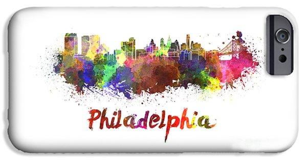 Philadelphia Paintings iPhone Cases - Philadelphia skyline in watercolor iPhone Case by Pablo Romero