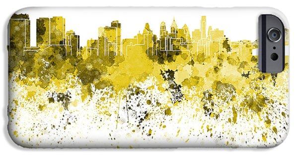 Philadelphia Paintings iPhone Cases - Philadelphia skyline in yellow watercolor on white background iPhone Case by Pablo Romero