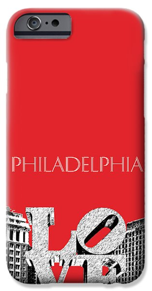 Pen And Ink Digital Art iPhone Cases - Philadelphia Skyline Love Park - Red iPhone Case by DB Artist