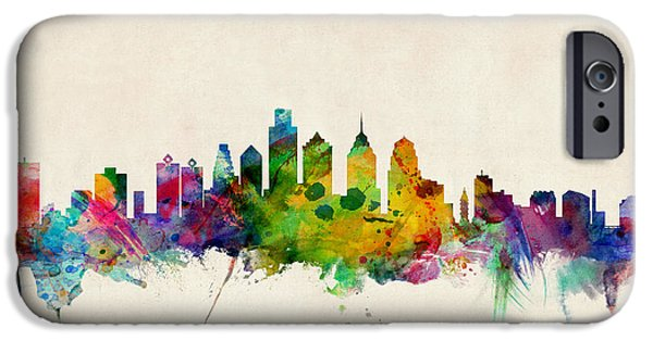 Watercolor iPhone Cases - Philadelphia Skyline iPhone Case by Michael Tompsett