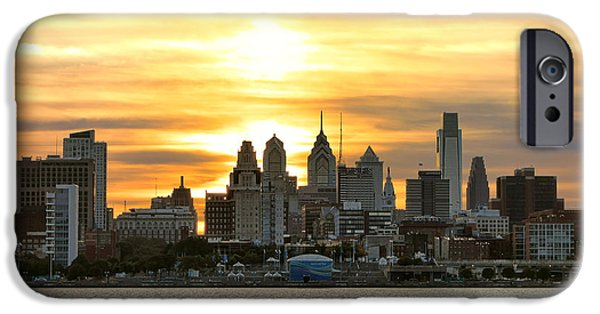 Center City iPhone Cases - Philadelphia Sunset iPhone Case by Olivier Le Queinec