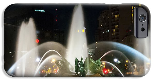 Night Angel iPhone Cases - Philadelphia - Swann Fountain - Night iPhone Case by Bill Cannon