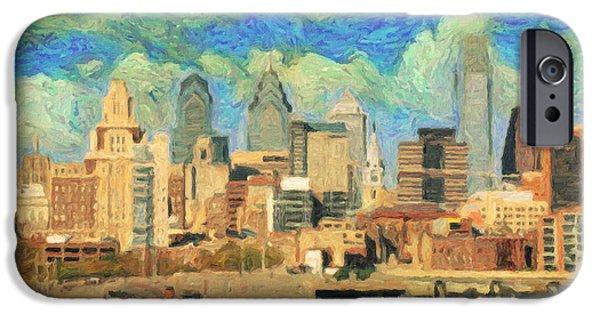 Philadelphia Paintings iPhone Cases - Philadelphia  iPhone Case by Taylan Soyturk
