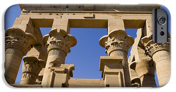 Hathor iPhone Cases - Philae Temple Egypt iPhone Case by Brenda Kean