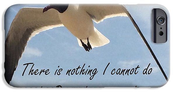 Flying Seagull Mixed Media iPhone Cases - Philippians 4 13 by Saribelle Rodriguez iPhone Case by Saribelle Rodriguez