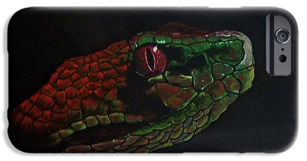 Close Up Pastels iPhone Cases - Philippine Pit Viper iPhone Case by Kevin Hubbard