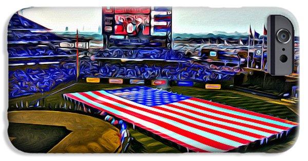 Philadelphia Phillies Stadium Digital Art iPhone Cases - Phillies American iPhone Case by Alice Gipson